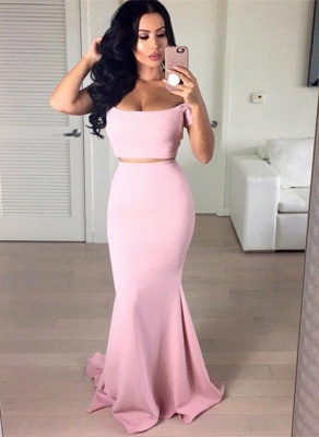 Stunning Off-the-shoulder Pink Prom Dress UK Two pieces Mermaid_1