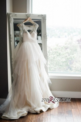 A-line Beads Tulle Straps Cap-Sleeve Newest Wedding Dress_3