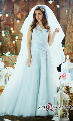 Delicate Applique Long Sleeveless Tulle Ice-Blue Wedding Dresses UK_1