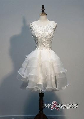 Layers Sleeveless Lace Hot White Short Organza Lace-Appliques Homecoming Dress UK_3