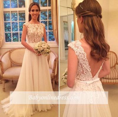 Button Zipper-Back Elegant Lace A-Line Tulle Wedding Dress_1