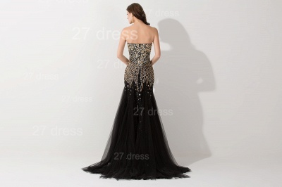 Gorgeous Sweetheart Sleeveless Mermaid Evening Dress UK Crystals Sweep Train_3