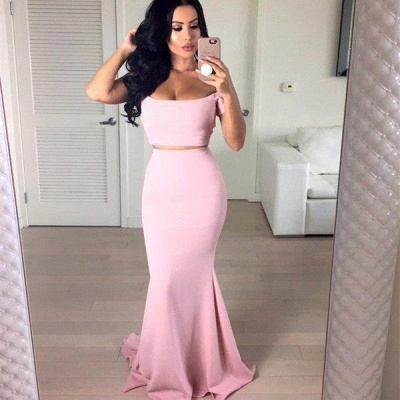 Stunning Off-the-shoulder Pink Prom Dress UK Two pieces Mermaid_3