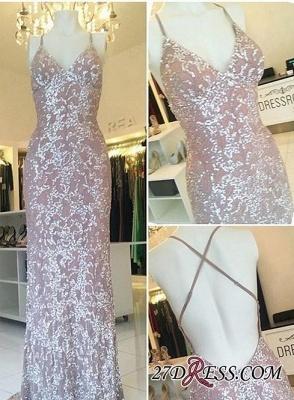 Sequined Sweep-Train Spaghetti-Straps Sheath-Column Sexy-Luxurious Evening Dress UK_2