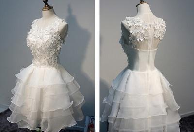 Layers Sleeveless Lace Hot White Short Organza Lace-Appliques Homecoming Dress UK_1