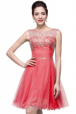 Luxurious Illusion Cap Sleeve Cocktail Dress UK Beadings Crystals Tulle Short Homecoming Gown CPS170_4