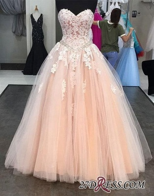 Lace Tulle Sweep-train Sweetheart-neck Pink Evening Dress UK_1