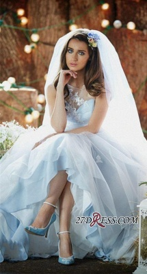 Delicate Applique Long Sleeveless Tulle Ice-Blue Wedding Dresses UK_3