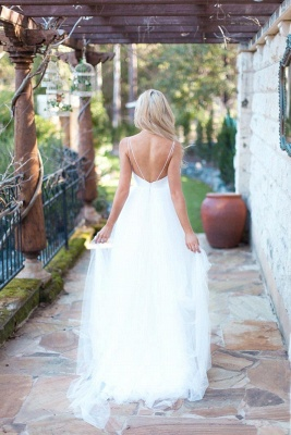 Hot Summer Beach Wedding Dress Long Tulle Spaghetti Straps_4