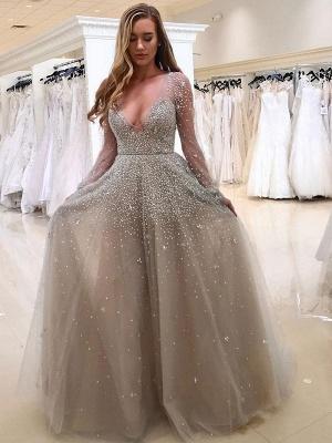 Gorgeous Long Sleeve Beadings V-neck Tulle Evening Dress UK_1