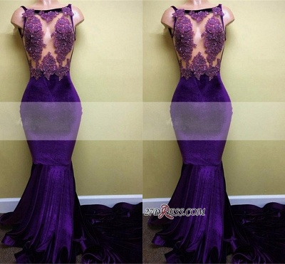 Appliques Sleeveless Mermaid Sexy Velvet Prom Dress UK BA5393_1