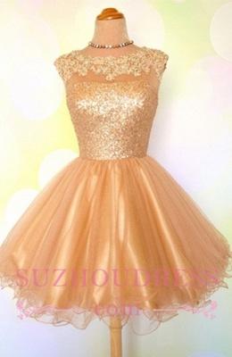 Gold Sequins Appliques Shiny Short Puffy Homecoming Dress UKes UK_1