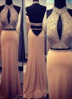 Stunning Backless Long evening Dress UKes UK Halter Chiffon Beading Prom gown_1