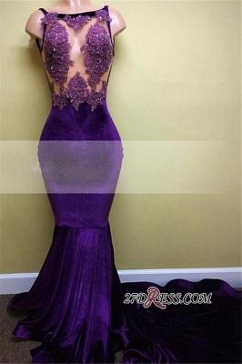 Appliques Sleeveless Mermaid Sexy Velvet Prom Dress UK BA5393_2