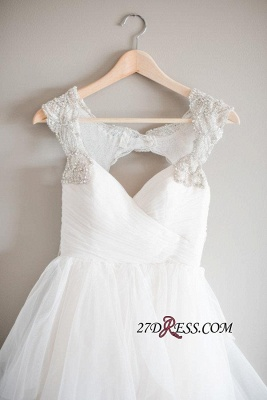 A-line Beads Tulle Straps Cap-Sleeve Newest Wedding Dress_2