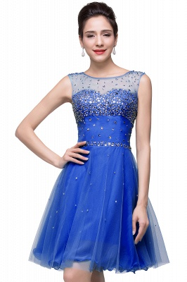 Luxurious Illusion Cap Sleeve Cocktail Dress UK Beadings Crystals Tulle Short Homecoming Gown CPS170_1