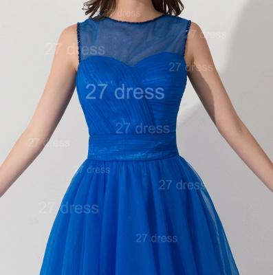 Modern Royal Blue Short Cocktail Dress UK Sleeveless Beadings Bowknot_4