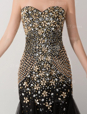Gorgeous Sweetheart Sleeveless Mermaid Evening Dress UK Crystals Sweep Train_2