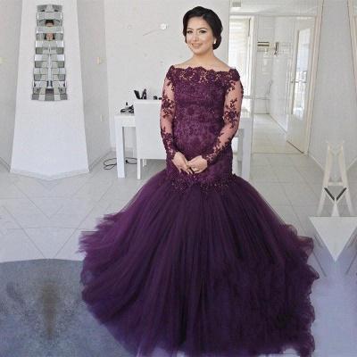 Gorgeous Long Sleeve Plus Size Prom Dress UK Mermaid Lace Appliques On Sale BA8433_3