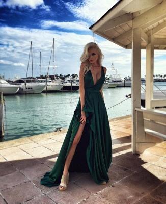 Sexy Green V-Neck Prom Dress UKes UK Long Split Party Gown BA6870_2