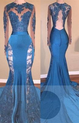 Blue Long-Sleeve Prom Dress UK   Lace Mermaid Formal Dress UK_1