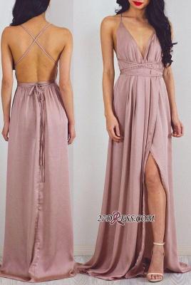 Split Halter V-Neck Charming Floor-Length Prom Dress UK_2