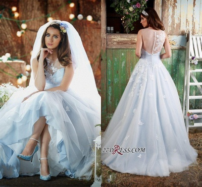 Delicate Applique Long Sleeveless Tulle Ice-Blue Wedding Dresses UK_2