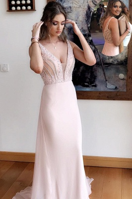 Simple Pink Beads Straps Evening Dress UK | Sleeveless Evening Gown_1