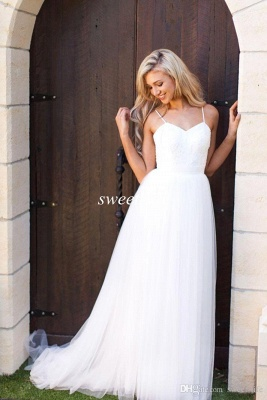 Hot Summer Beach Wedding Dress Long Tulle Spaghetti Straps_5