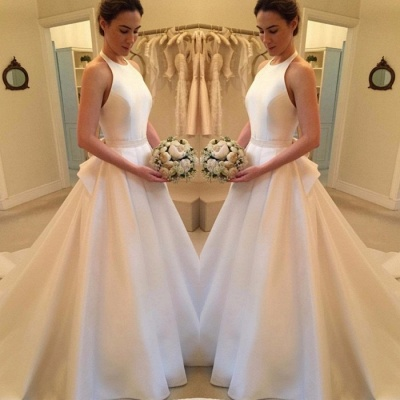 Gorgeous Sleeveless Halter Wedding Dress | Backless Bridal Gown_3
