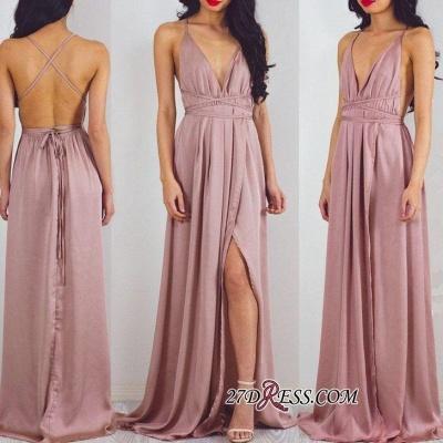 Split Halter V-Neck Charming Floor-Length Prom Dress UK_1