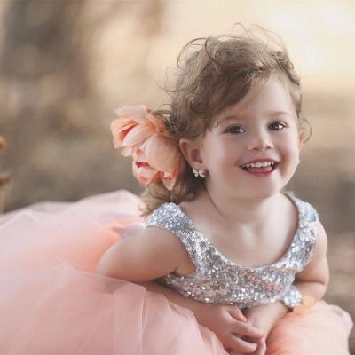 Lovely Tulle Sequined Flower Girl Pageant Dress Jewel Sleeveless_4