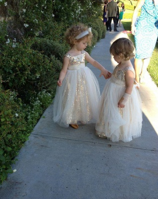 Gorgeous Sequined Tulle A-line Flower Girl Dress UK Straps Sleeveless_5
