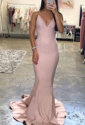 Sexy V-Neck Spaghetti-Straps Evening Dress UK | Lace Long Prom Dress UK_1
