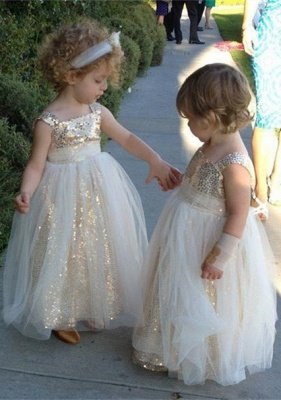 Gorgeous Sequined Tulle A-line Flower Girl Dress UK Straps Sleeveless_1