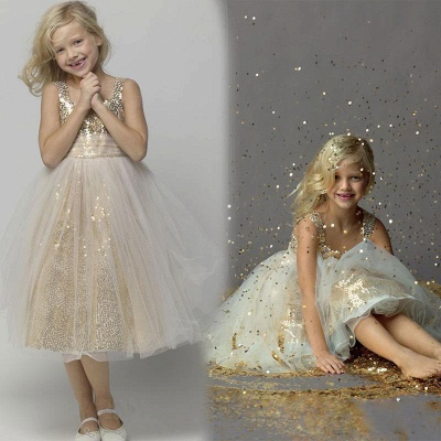 Gorgeous Sequined Tulle A-line Flower Girl Dress UK Straps Sleeveless_4