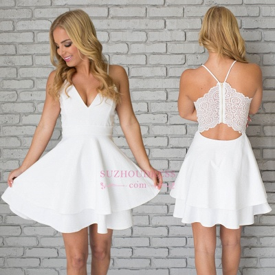 White Spaghetti-Strap Cute Lace Mini Sleeveless Homecoming Dress UK_1