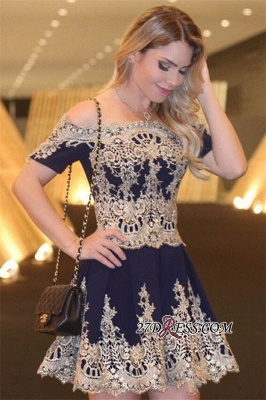 Navy Latest Sexy Off-The-Shoulder Lace Appliques Short-Sleeves Homecoming Dress UK_2