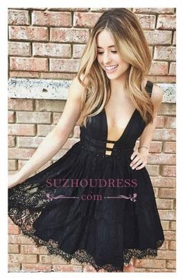 Short Lace Sleeveless Elegant Deep-V-Neck Black Homecoming Dress UKes UK_1