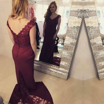 Sexy Sleeveless V-Neck Mermaid Prom Dress UK With Lace Appliques_3