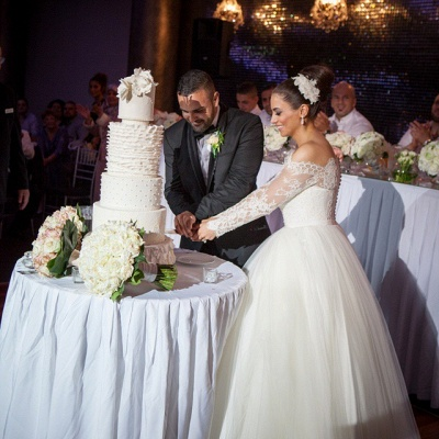 Elegant Off-the-shoulder Lace Ball Gown Wedding Dress Tulle Button Back_4