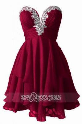 Elegant Sweetheart Sleeveless Homecoming Dress UK Beadings Zipper Chiffon Short Cocktail Gown_1