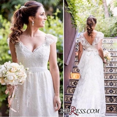 Lace Simple White Cap-sleeves A-line V-neck Bow Wedding Dress_2