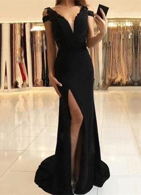 Elegant Black Evening Dress UK | Prom Dress UK With Slit_1