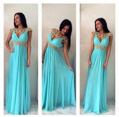 Sexy Jewel Cap Sleeve Chiffon Prom Dress UK With Beadings_2