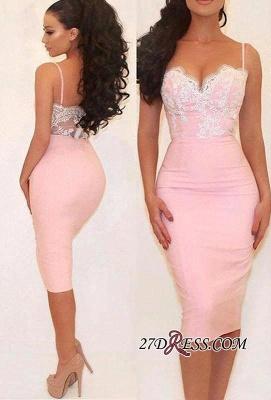 Gorgeous Pink Mermaid Lace Spaghetti-Straps Prom Dress UK_2