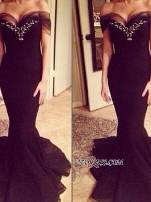 Elegant Sweep-Train Off-the-shoulder Crystal Mermaid Prom Dress UK_1