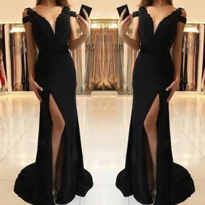 Elegant Black Evening Dress UK | Prom Dress UK With Slit_3