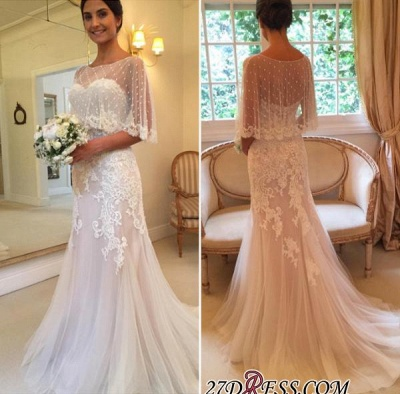 Applique Tulle Sexy Mermaid Sweep-Train Sweetheart Wedding Dresses UK_1