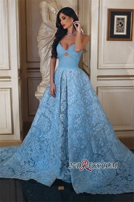 Lace Blue A-line Ruffles Gorgeous Sweetheart Prom Dress UK_3